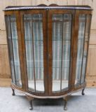 Bowfront Walnut Wood Two Door China Display Cabinet